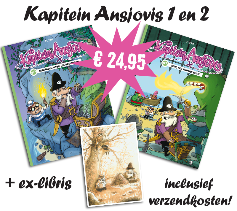 Kapitein Ansjovis Album 1 en 2 plus ex-libris